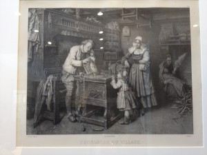 "I saw this etching in a couple different places we went. I like the feeling it gives. The translated title is ""The Village Clockmaker""."