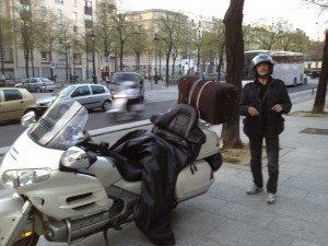 Here's my motorcycle taxi with my bag on the back (and the driver of course)