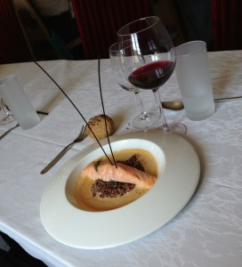 Salmon in lobster sauce