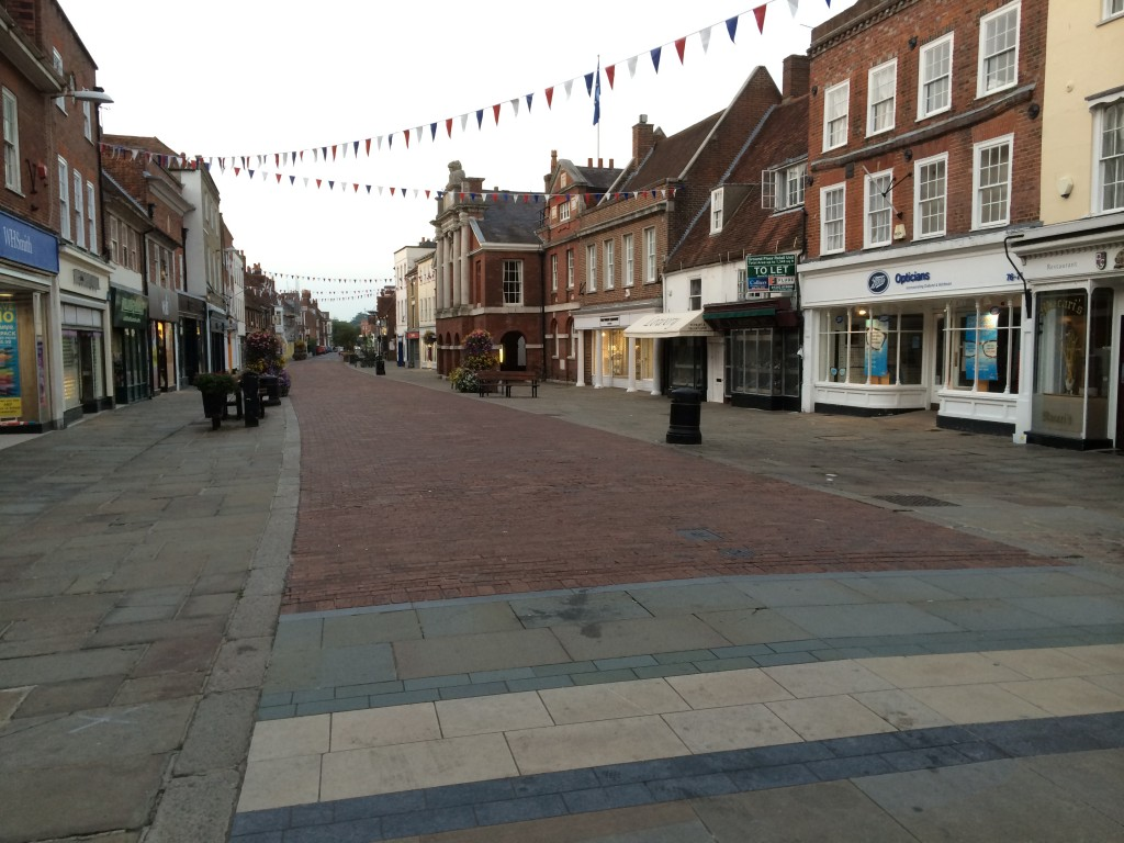 The town normally doesn't look this deserted. This is a pedestrian only section of North Street at around 7:30 PM