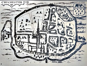 A map of Chichester drawn around 1610.