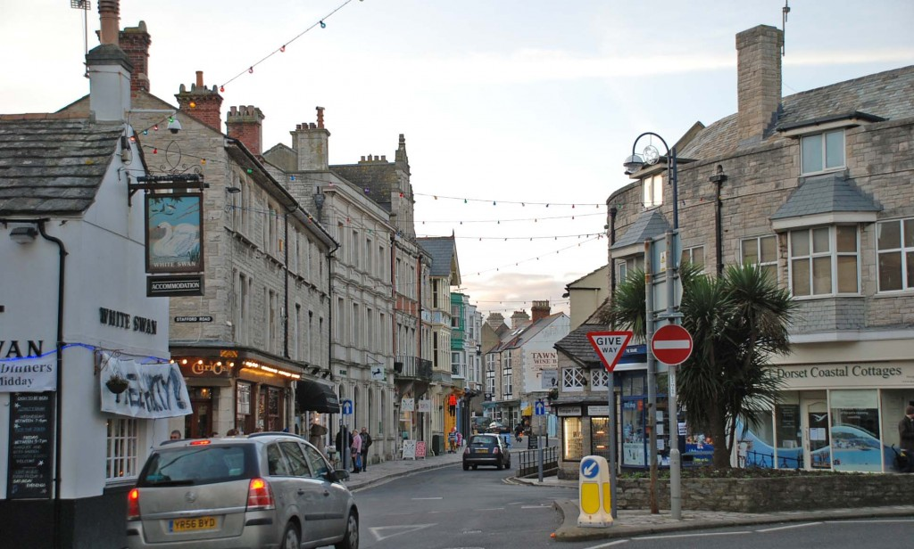 High Street in Swanage - like many other English towns.