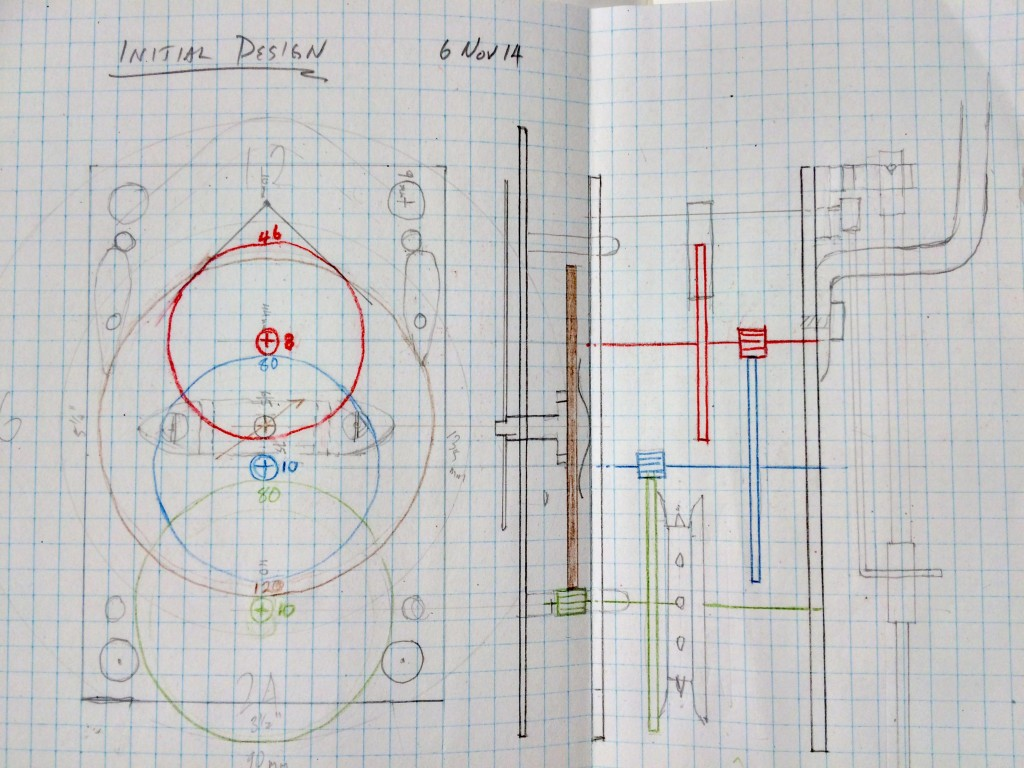 Here's a page from my notebook that show my first pencil drawings of how the clock will be laid out.