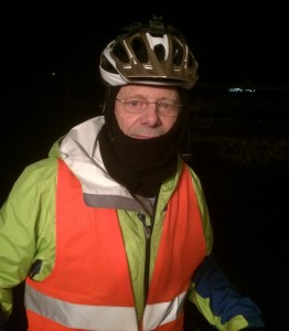 Mostyn in his cold weather riding gear.