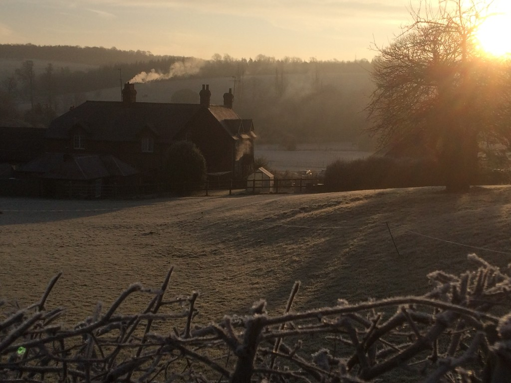 Early frost on West Dean village.