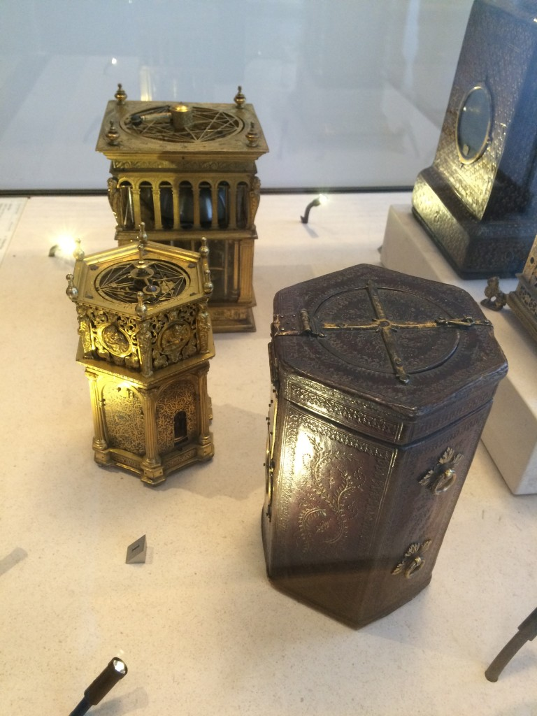 Some portable clocks from the 17th century.