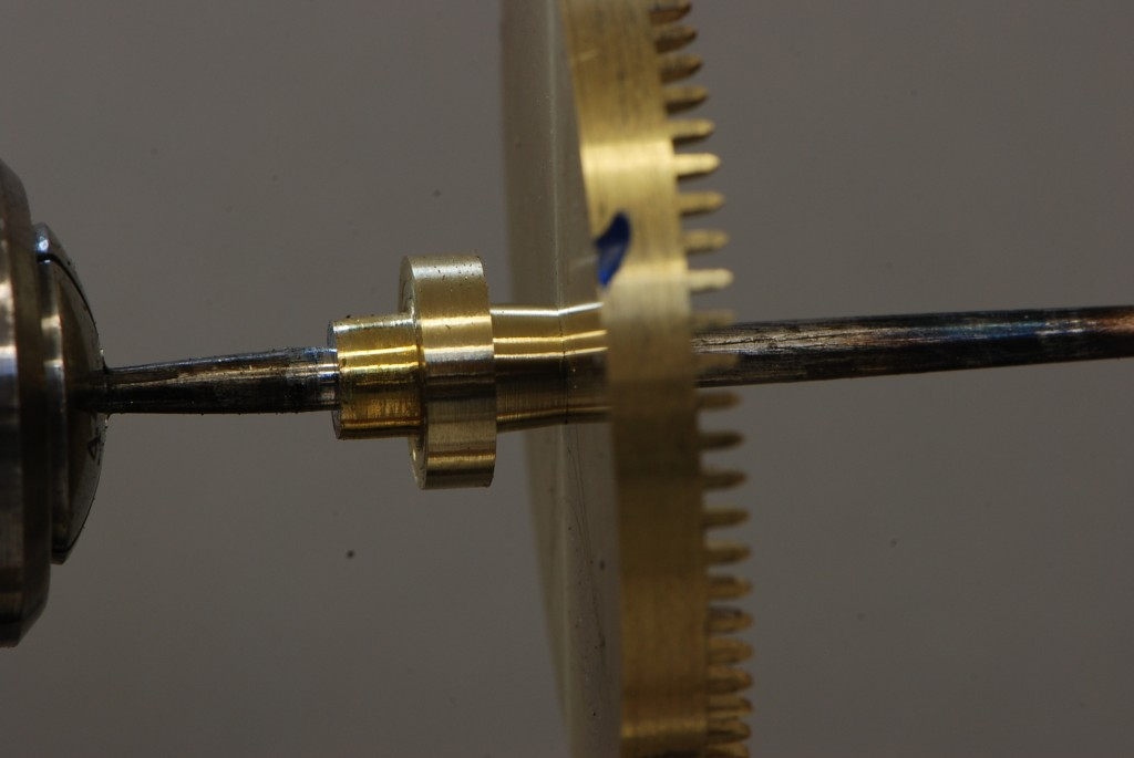 The contrate wheel sliding onto the collet with a finger tight fit.