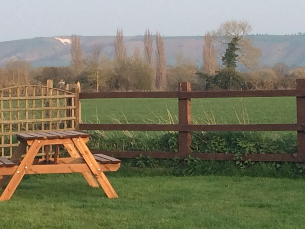 We were surprised to see the white horse in the distance when we stopped at a pub for dinner.