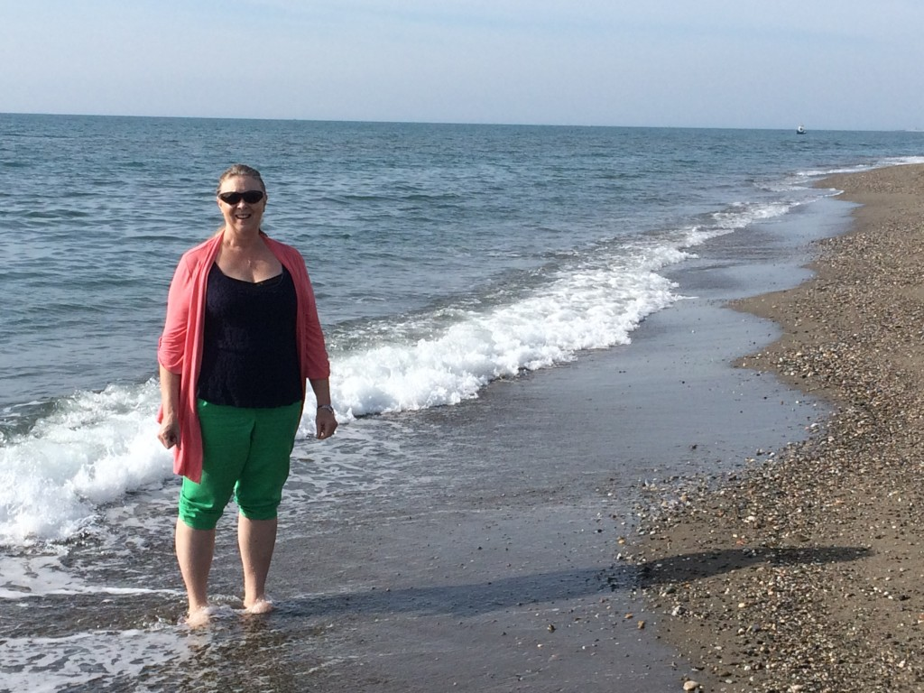 Debbie said the water wasn't too cold.  It has been many years since we gout our feet wet in the Mediterranean,