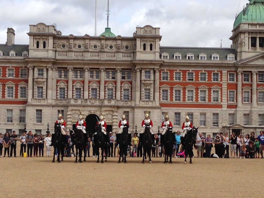 The changing of the horse guards at Whitehall.