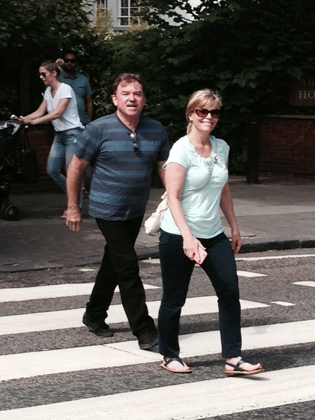 Tim & Debi walk the black and whites at Abbey Road.